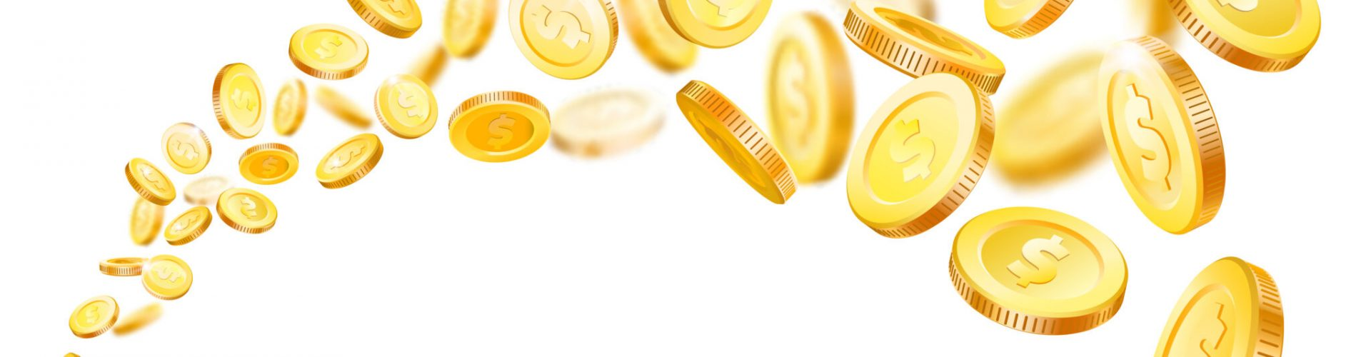 Flying coins. Gold coin fly at stream market profit. Gambling winner casino jackpot golden money falling flow treasure prize dollar cash. Finance investment realistic 3d vector isolated illustration
