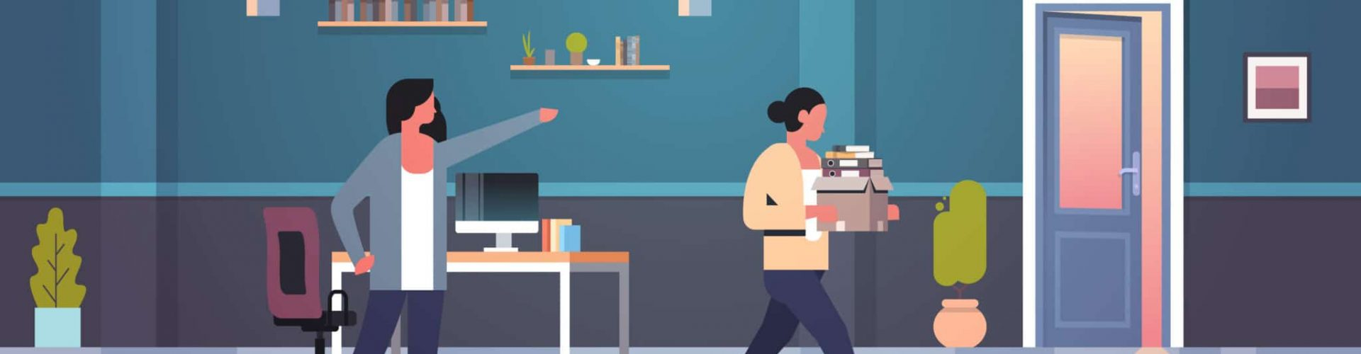 female boss dismisses pointing finger at door fired woman employee with paper documents box dismissal unemployment jobless concept flat modern office interior horizontal vector illustration