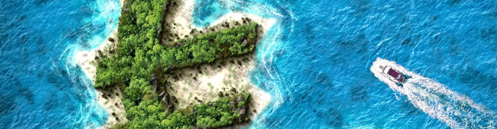 Euro shaped island. Tax haven concept for offshore bank accounts.