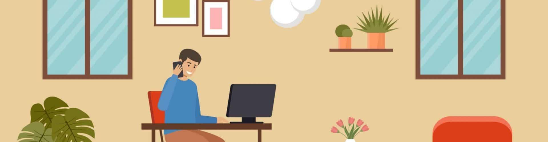 Freelancer man works at home. Vector flat illustration.